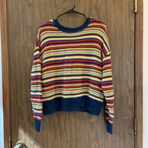 Color striped long-sleeve knitted sweater
